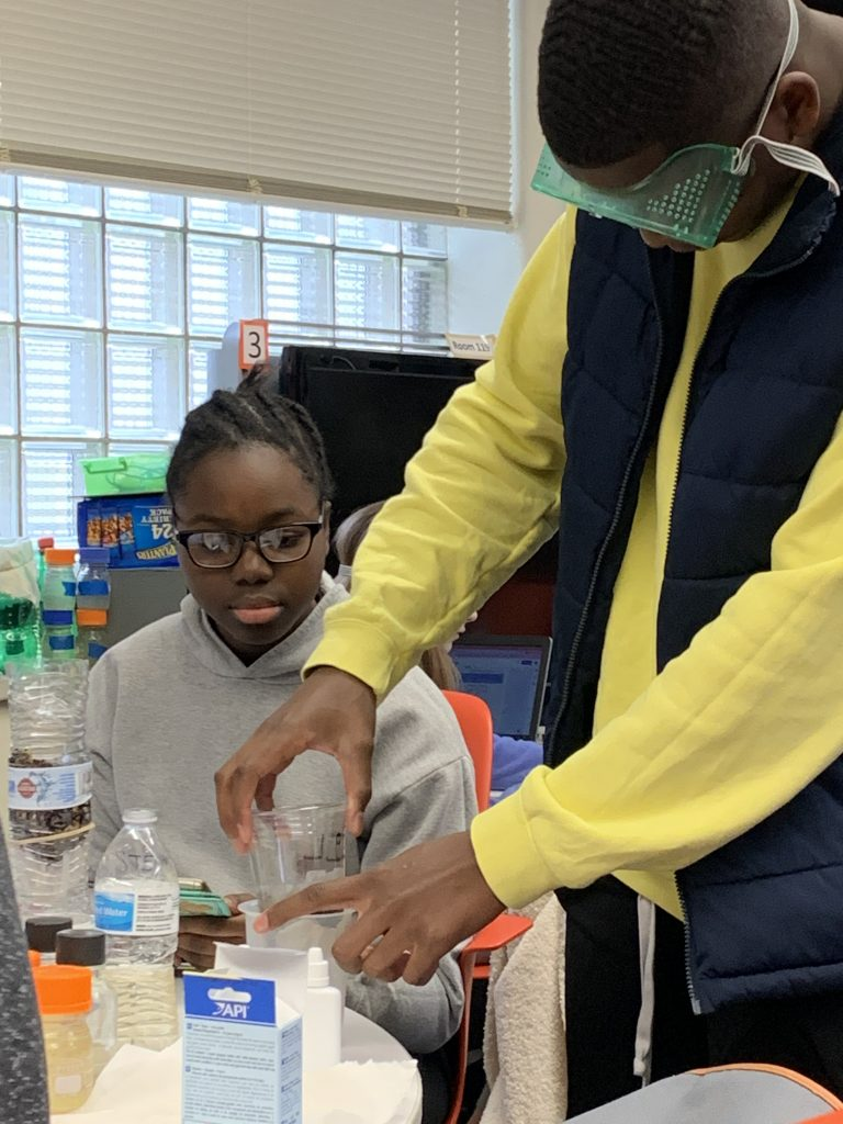 9th grade students at Wake STEM engage in a water filter design challenge as part of their spring 2020 PBI Global.