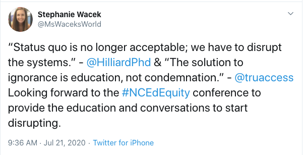 "Tweet from Stephanie Wacek: ""Status quo is no longer acceptable; we have to disrupt the systems."" - 