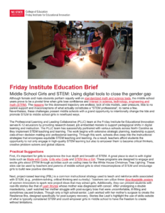 Middle School Girls and STEM: Using digital tools to close the gender gap PDF