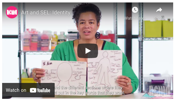 A screenshot from the NCMA Art and SEL Online Course. A woman holds up two pieces of paper with drawings on them.
