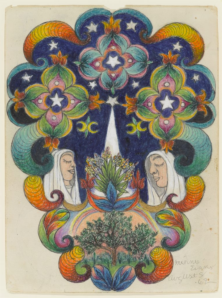 A mirrored drawing of a tree and a woman